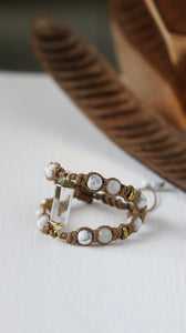 Crystal Quartz double row statement bracelet /Howlite/Moonstone/Hematite
