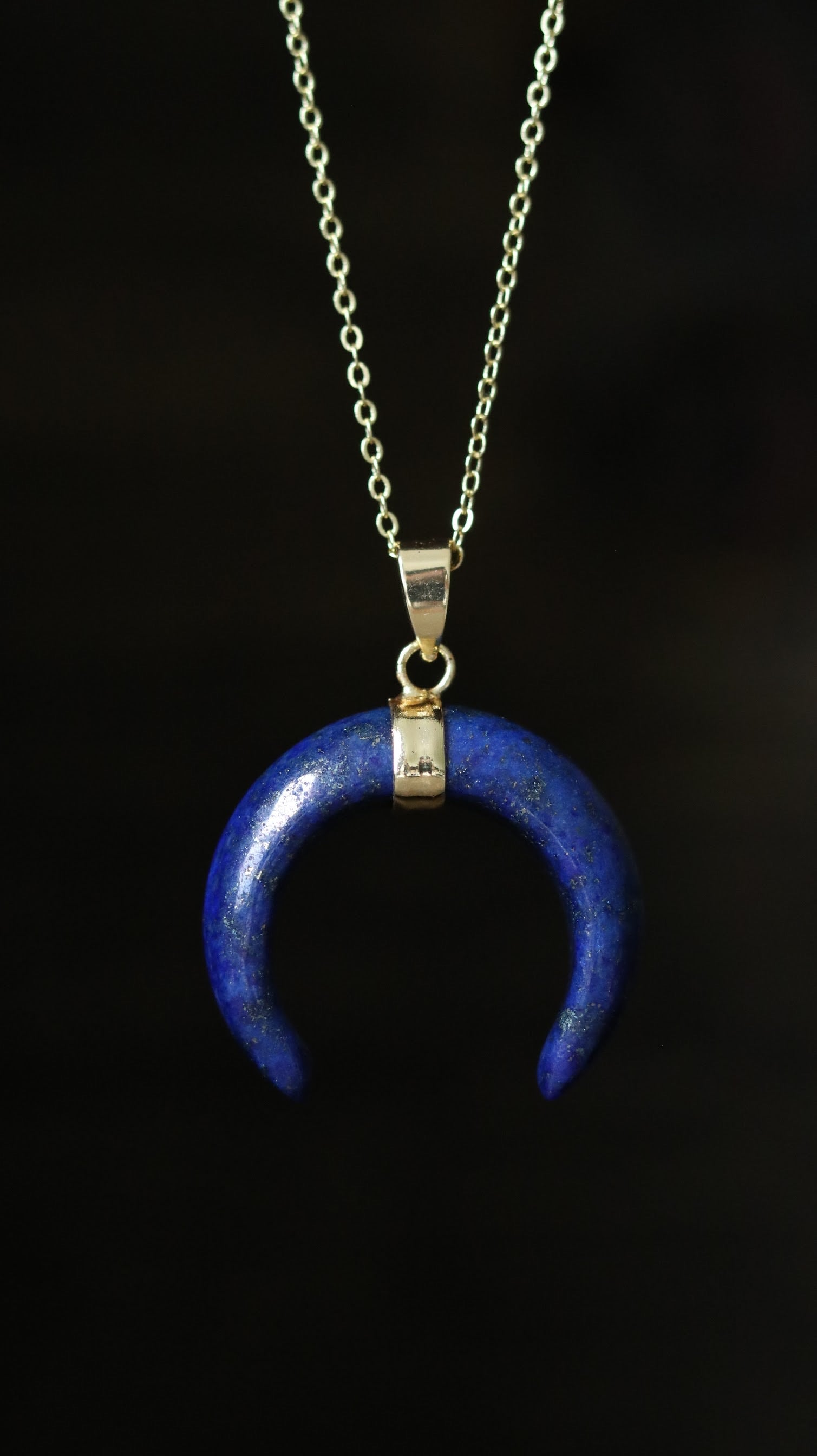 Lapis Lazuli moon shape gold plated necklace