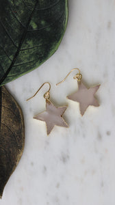 Rose Quartz star earrings - BurzanDesign