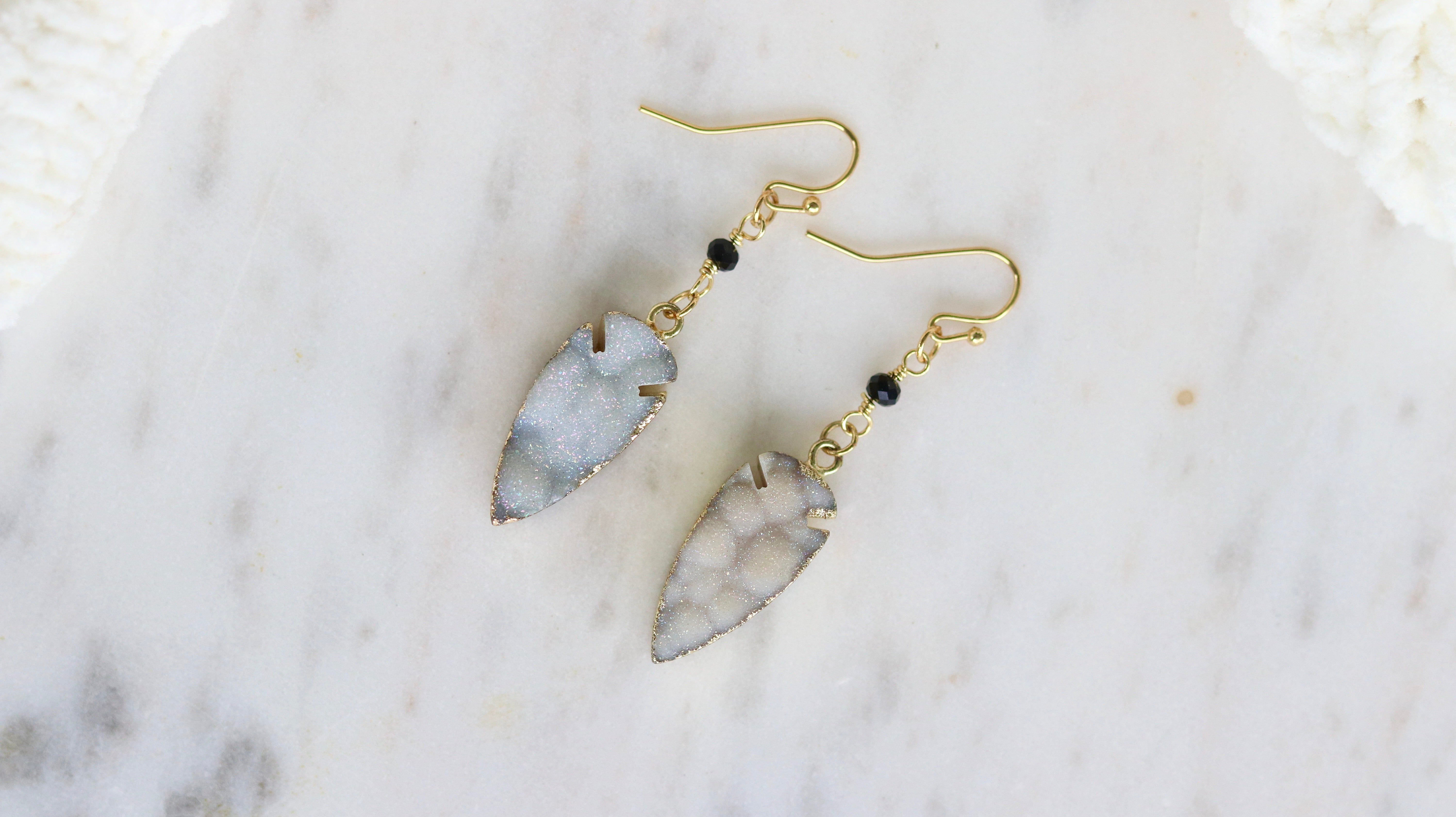 Chalcedony druzy arrow earrings
