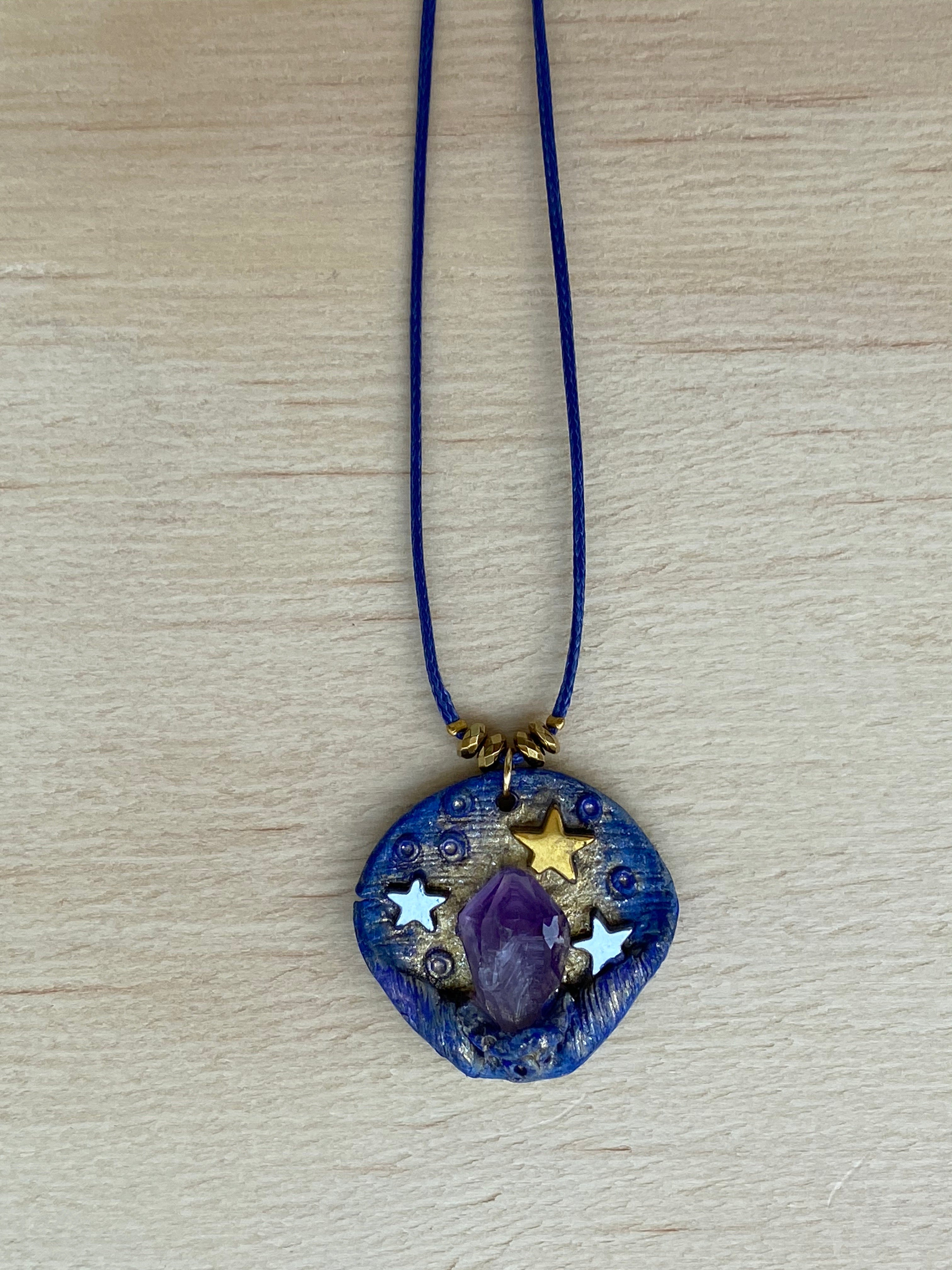 Amethyst Hematite star polymer clay necklace