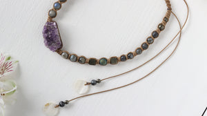 Amethyst geode with Labradorite macrame necklace