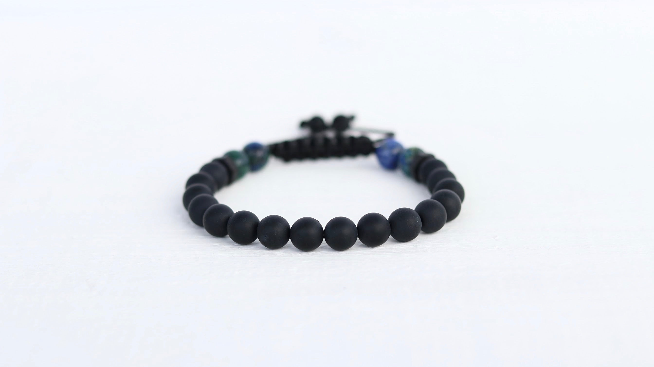 Onyx with polished Azurite men beaded bracelet - BurzanDesign