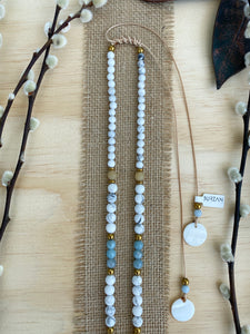 Blue Kyanite long beaded necklace / Howlite/ Yellow Jade/ Aquamarine/ Hematite - BurzanDesign