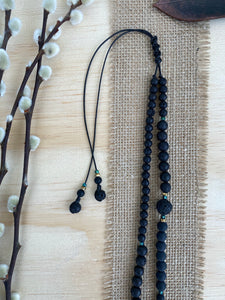 Abalone shell moon with black Onyx, Lava and Hematite long beaded necklace - BurzanDesign