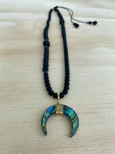 Abalone shell moon long beaded necklace /black Onyx/ Lava/ Hematite - BurzanDesign