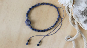 Raw Lapis Lazuli blue statement macrame necklace