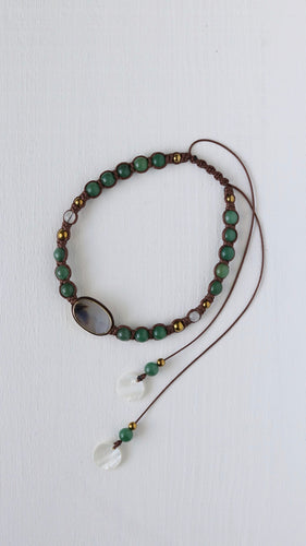 Agate & Green Aventurine bohemian necklace