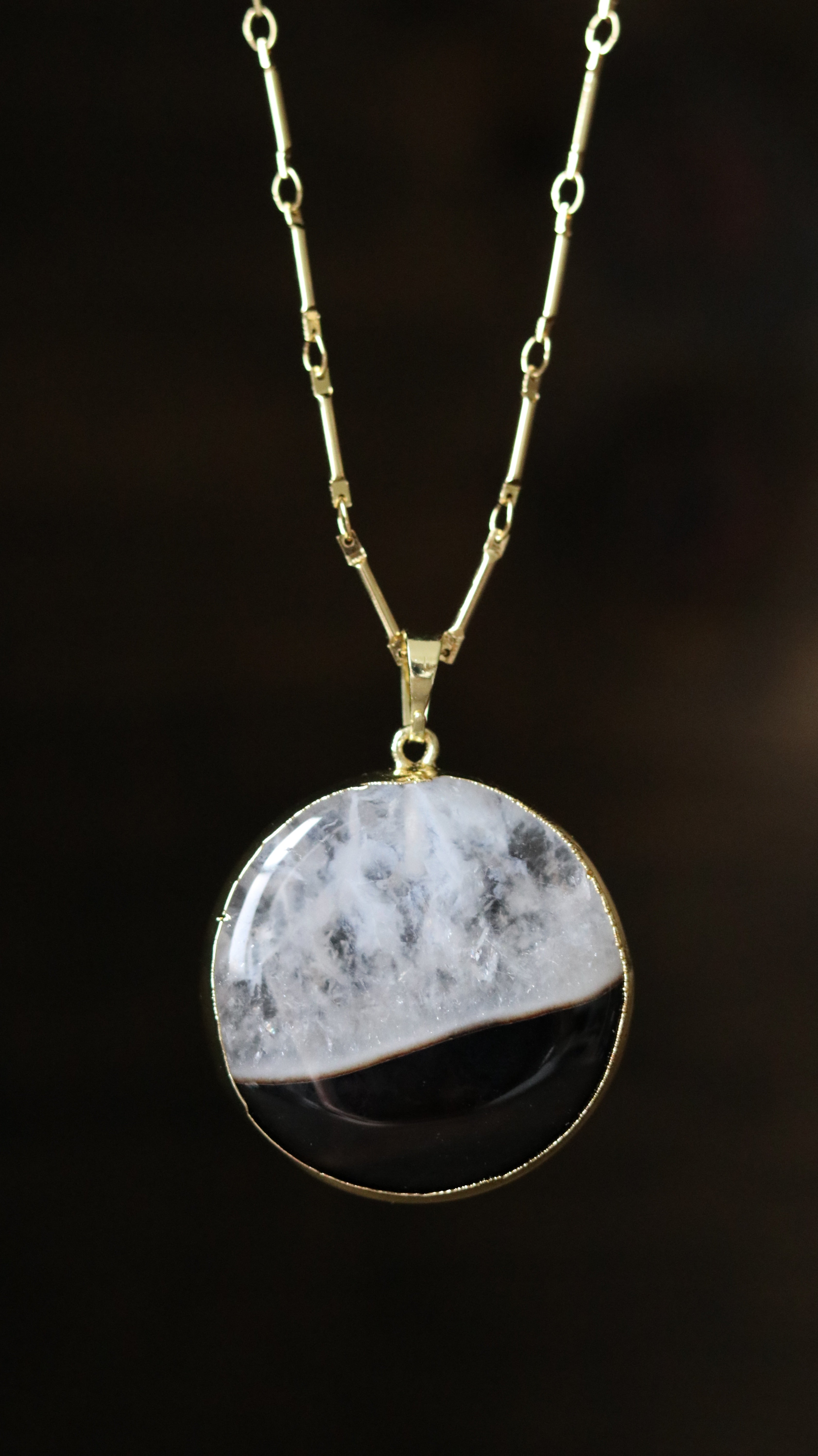 Black Agate Quartz gold plated necklace