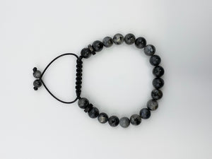 Polished Black Moonstone beaded bracelet