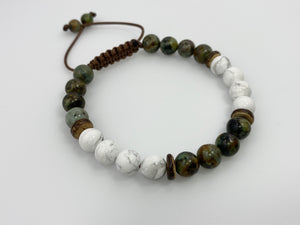African Turquoise and Howlite beaded men bracelet