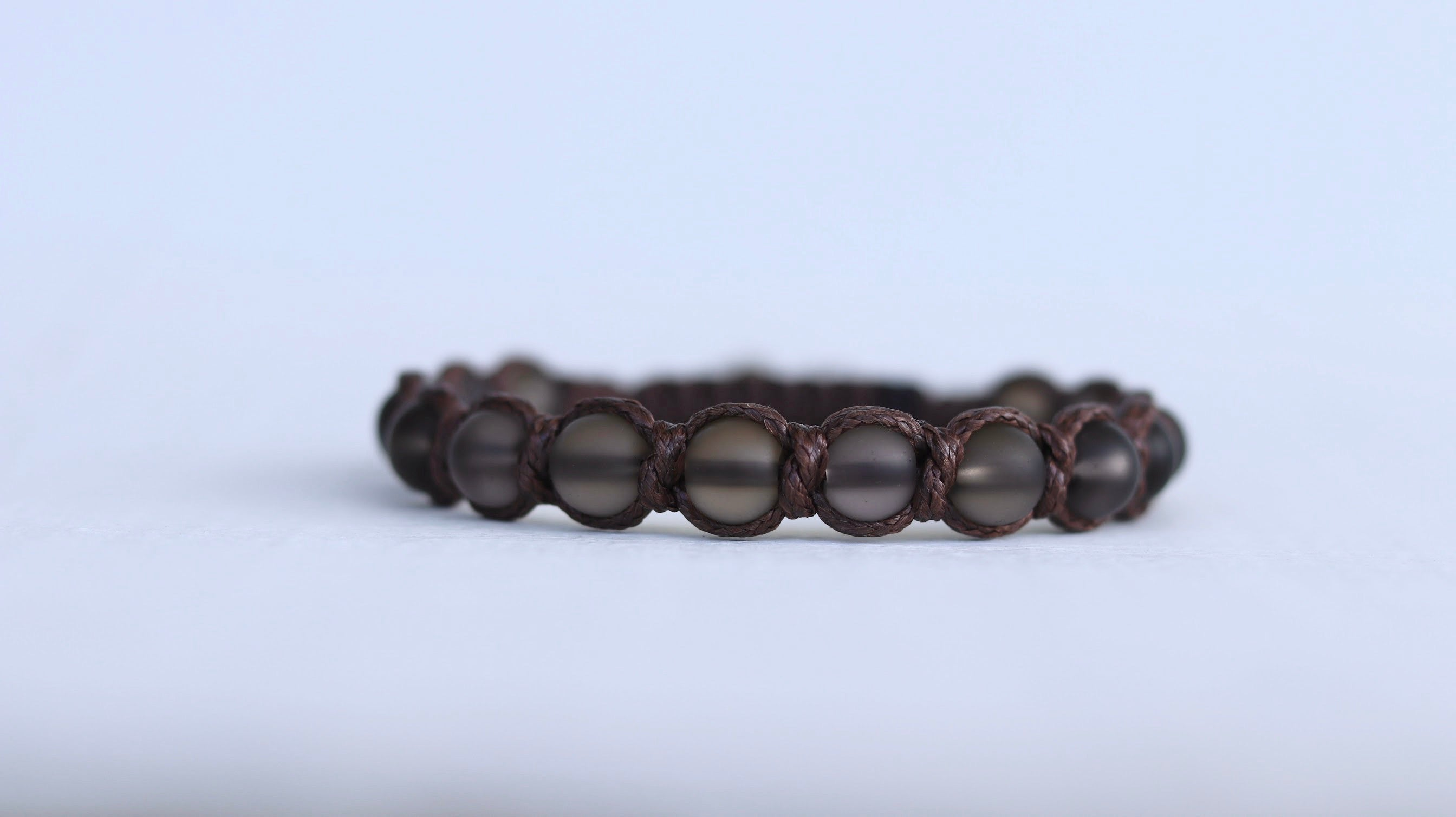 Smokey Quartz matte men macrame bracelet/ black & dark brown/