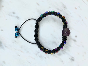 Double point Amethyst statement macrame bracelet with rainbow coated Hematite - BurzanDesign