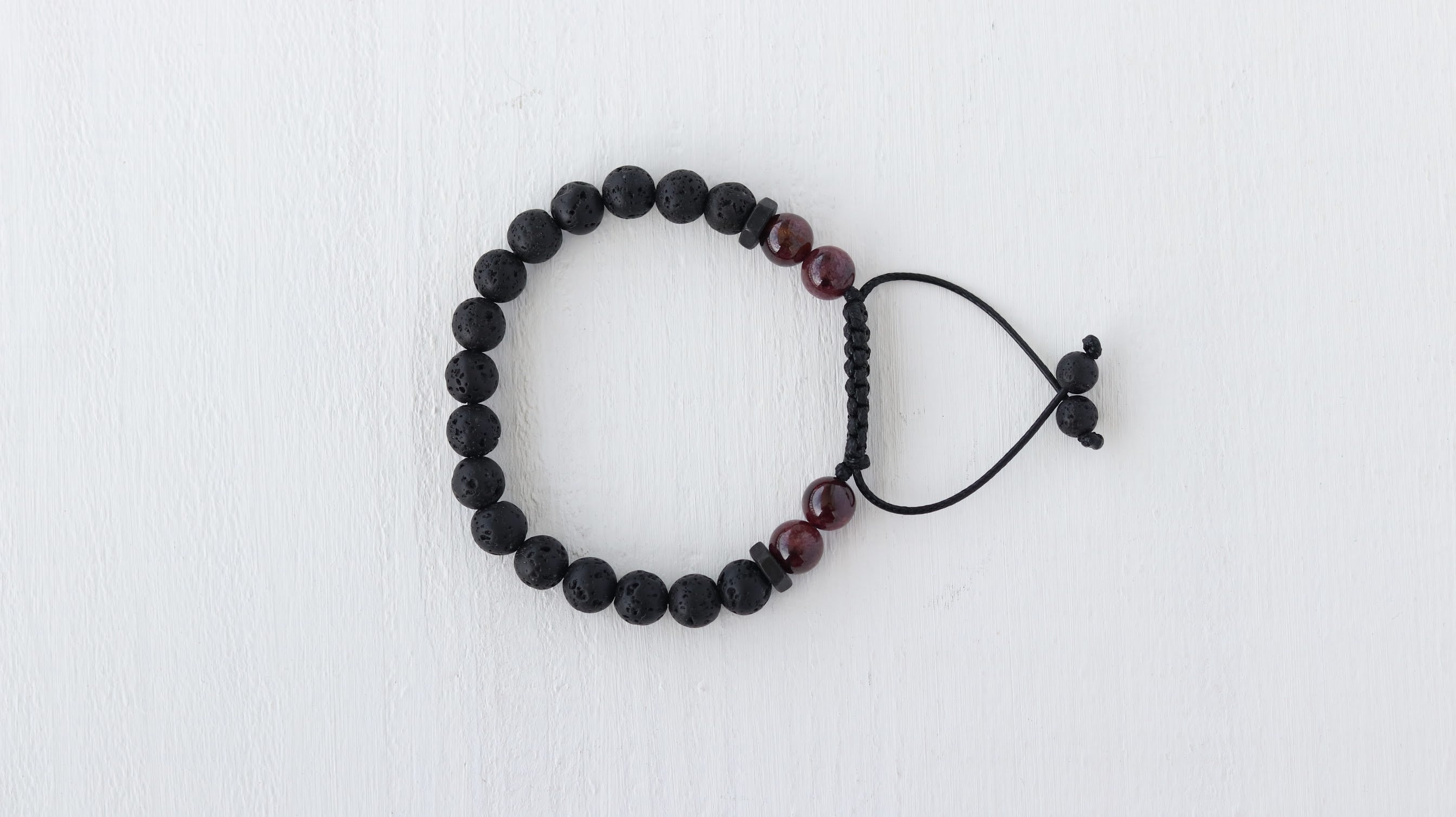 Volcanic Lava with Red Garnet beaded bracelet - BurzanDesign