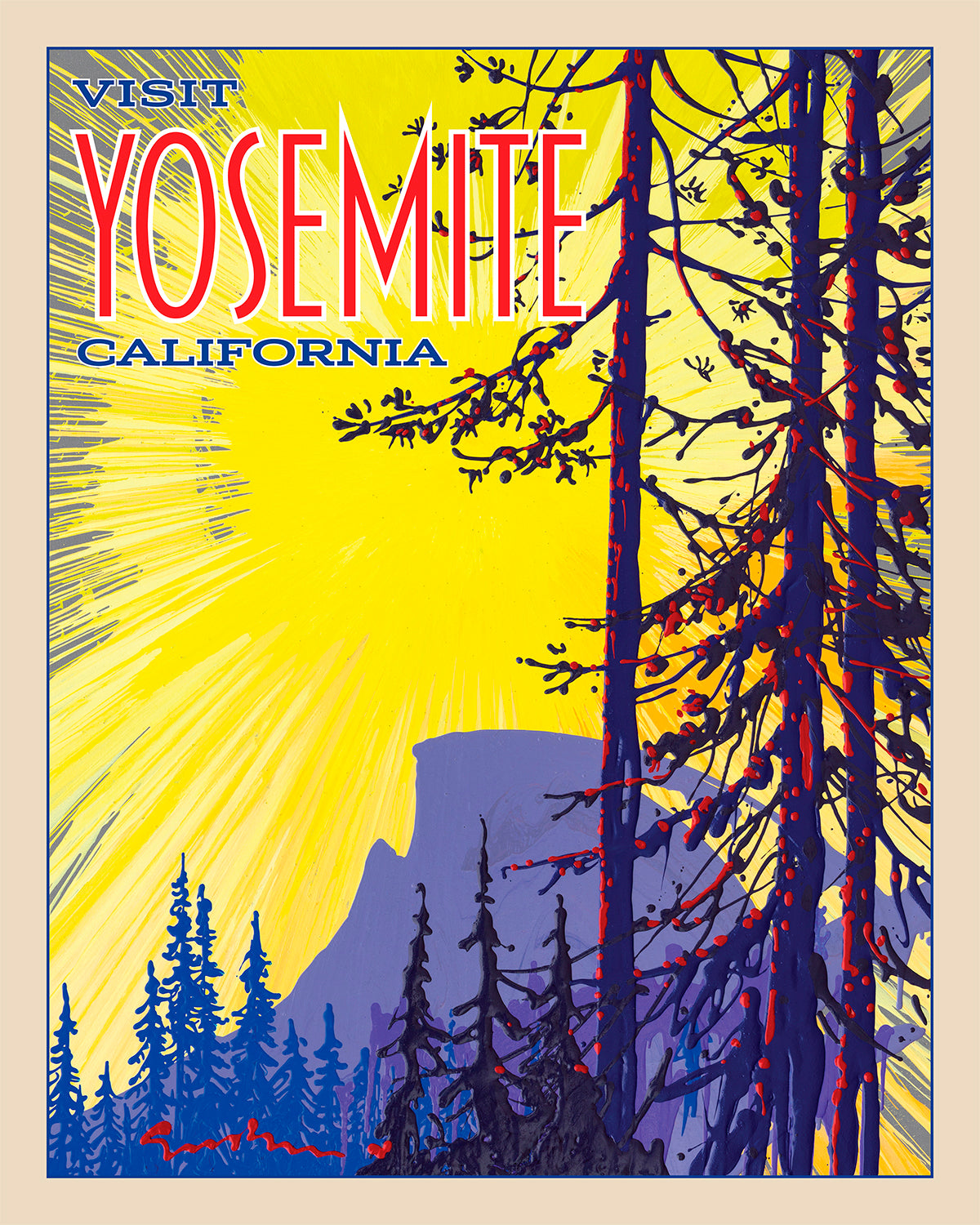 Yosemite: Half Dome Sunrise - Travel Poster