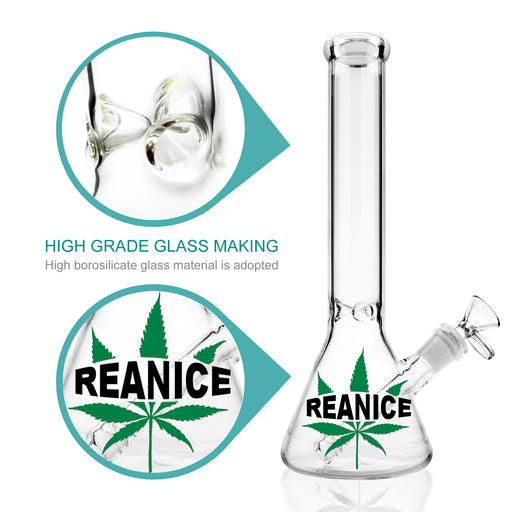 "10.4"" Reanice Clear Beaker with Ice Catcher a Weed Leaf Pipe"