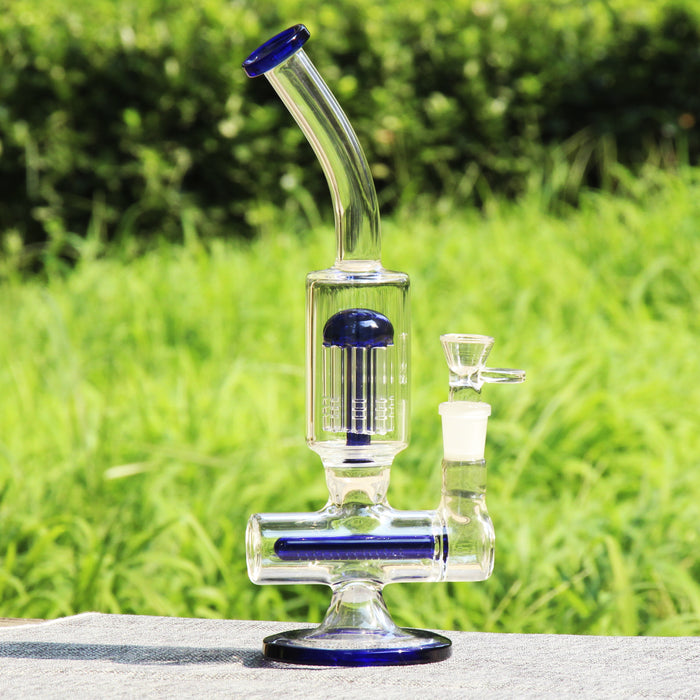 "12"" Reanice Blue Demon Inline Diffuser Recycler with Tree Perc Ash Catcher Wax Dab Bundle"