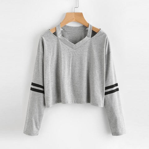 Popular Women's Clothes Long Sleeve Sweatshirt V Neck Casual Tops