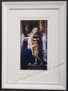 Madonna and Child with St. John the Baptist White Frame