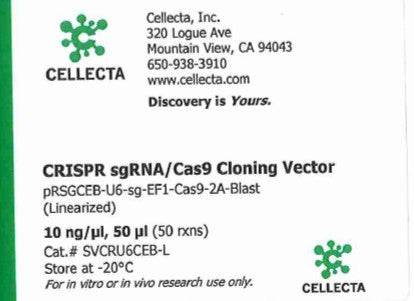 Cellecta CRISPR sgRNA/Cas9 Cloning Vector