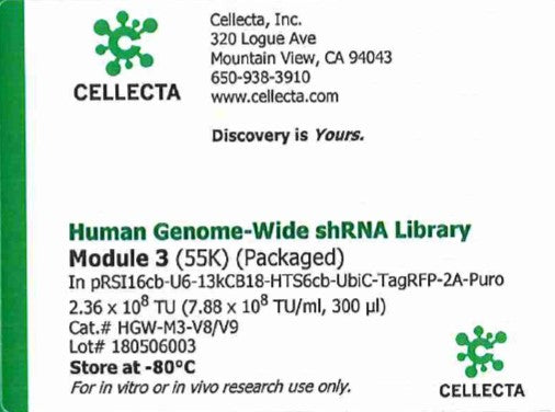 Cellecta Human Genome-Wide shRNA Library Module 3 (Packaged)