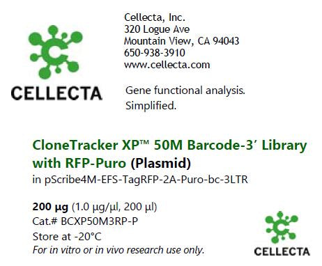 CloneTracker XP™ 50M Barcode-3' Library in pScribe4M-RFP-Puro