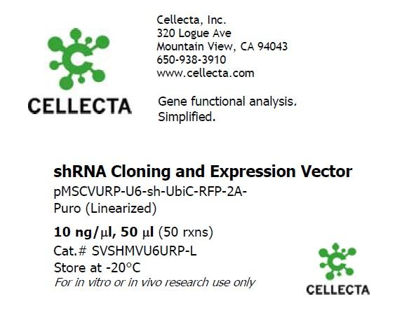 Retroviral shRNA/sgRNA Expression Vector pMSCVURP-U6-(xx)-UbiC-RFP-2A-Puro (linearized, ready-for-cloning)