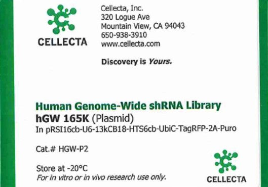 Cellecta Human Genome-Wide shRNA Library hGW 165K (Plasmid)