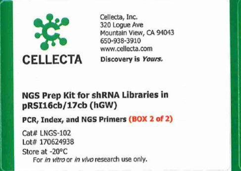 Cellecta NGS Prep Kit for shRNA Libraries in pRSI16cb/17cb (hGW)