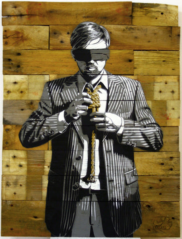 DECYCLE - Down to business (Gold Wood Edition) - prettyportal artshop, limited edition prints, urban contemporary art, streetart