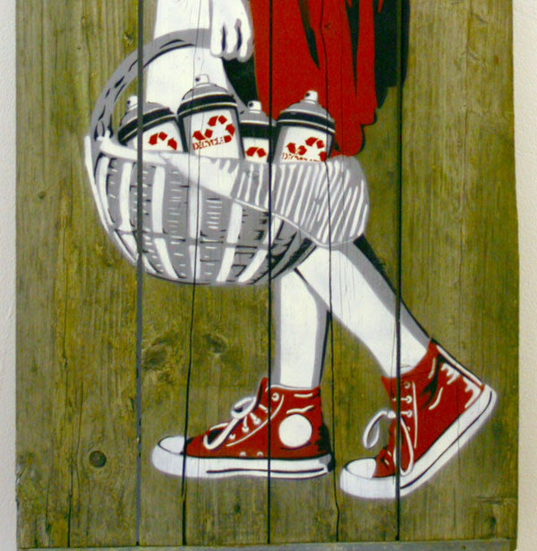 Decycle: Little Red Bombing-the-hood (Wood Edition) - prettyportal artshop, limited edition prints, urban contemporary art, streetart