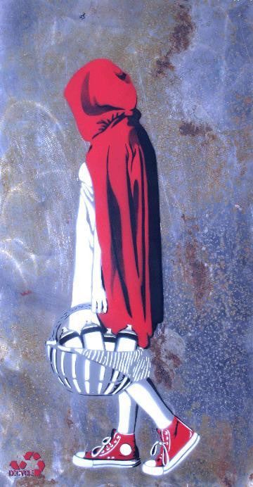 DECYCLE - Little Red Bombing the hood - prettyportal artshop, limited edition prints, urban contemporary art, streetart