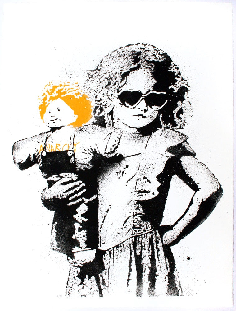 Dolled up (orange) - prettyportal artshop, limited edition prints, urban contemporary art, streetart