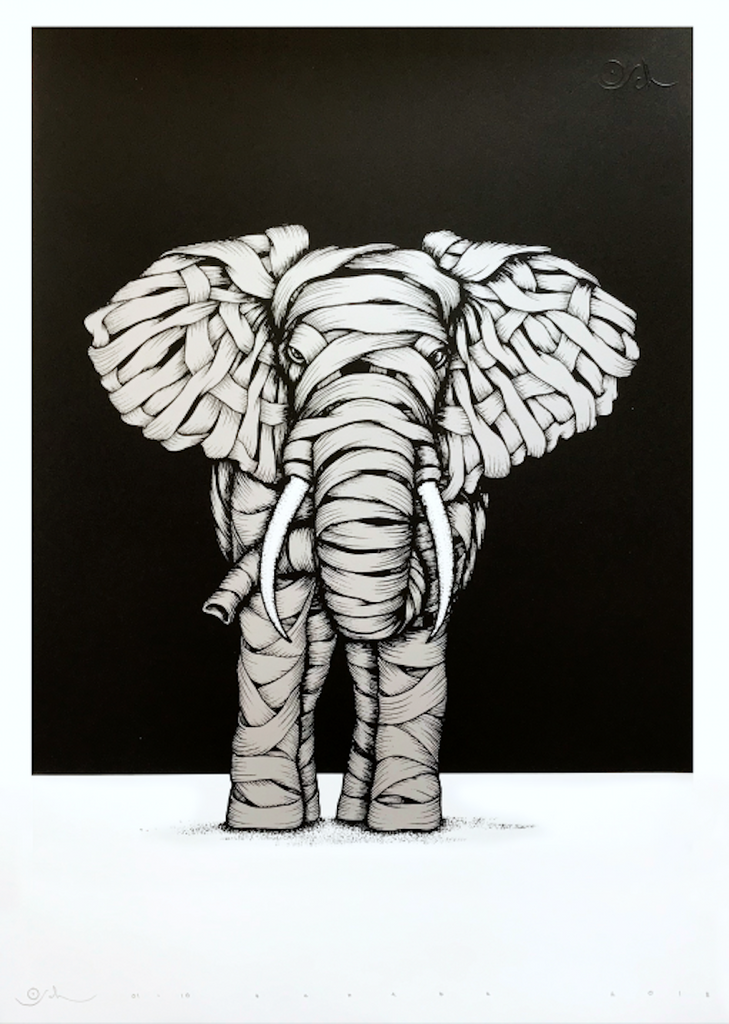 Otto Schade - Ribboned elephant (silver)