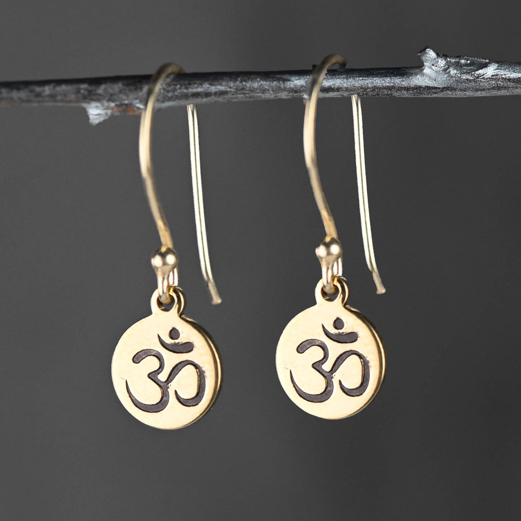 Stamped Brass Om Earrings