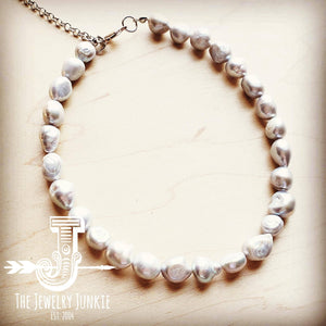Genuine Gray Pearl Choker Necklace 251s