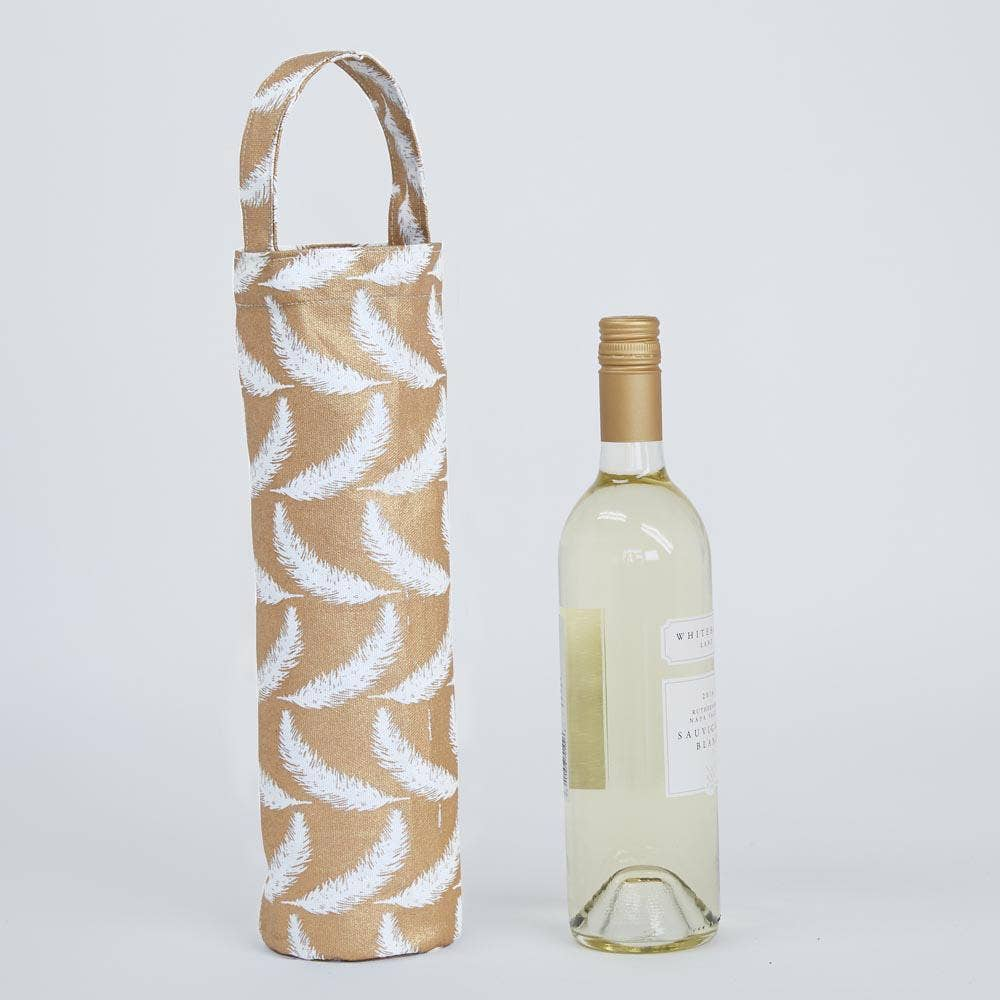 Feathers Gold Wine Gift Bag