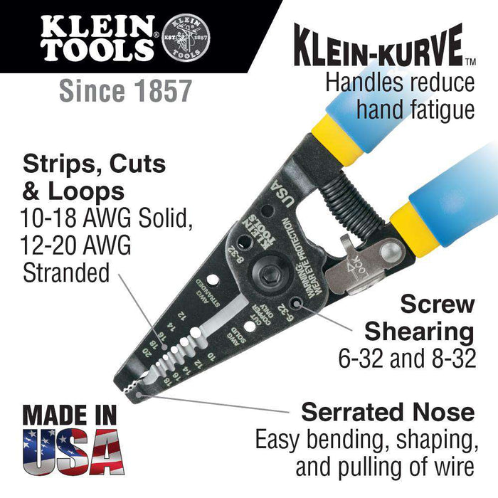 Klein Tools 11055 Klein Kurve® Solid and Stranded Copper Wire Stripper & Cutter - Edmondson Supply