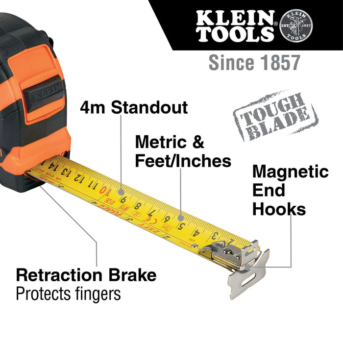 Klein Tools 9375 Tape Measure, 7.5-Meter Magnetic Double-Hook - Edmondson Supply