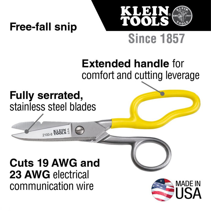Klein Tools 2100-8 Free-Fall Snip Stainless Steel