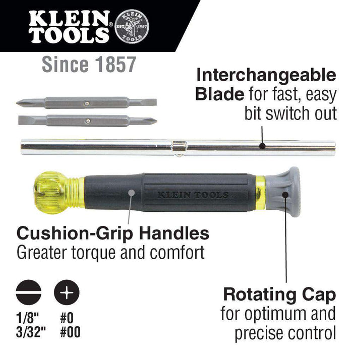 Klein Tools 32581 4-in-1 Electronics Screwdriver with Rotating Cap - Edmondson Supply