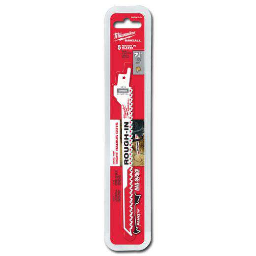 "Milwaukee 48-00-1610 SAWZALL® 7-3/8"" 5 TPI Rough-In Blade - 5 PK - Edmondson Supply"