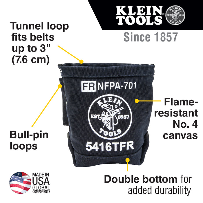 Klein Tools 5416TFR Tool Bag, Flame Resistant Bolt Bag, No. 4 Canvas, 5 x 10 x 9-Inch