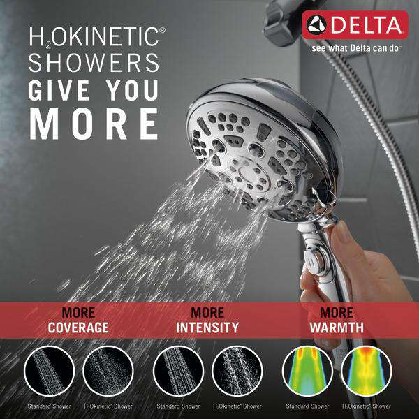 Delta Faucet 54710-PK SureDock H2Okinetic 7-Setting Hand Shower, Chrome - Edmondson Supply