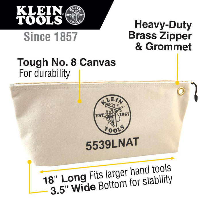 Klein Tools 5539LNAT Canvas Bag with Zipper, Large Natural - Edmondson Supply