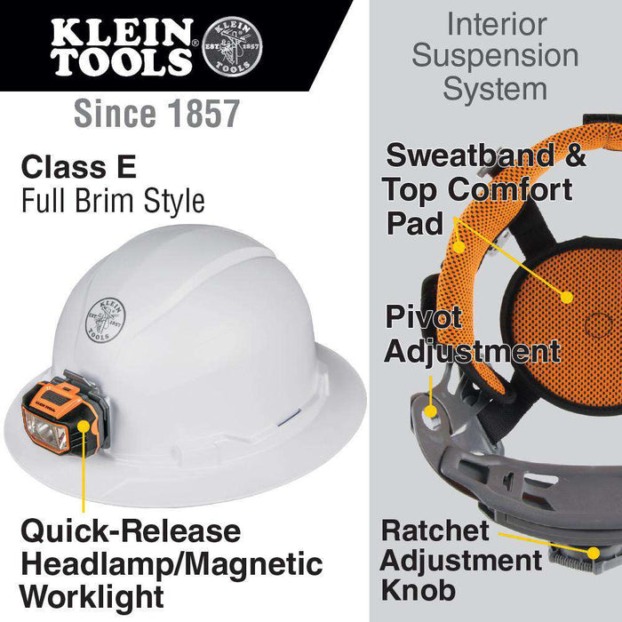 Klein Tools 60406 Hard Hat, Non-Vented, Full Brim Style with Headlamp - Edmondson Supply