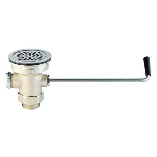 "T&S Brass B-3950 Waste Drain Valve, Twist Handle, 3-1/2"" x 2"" & 1-1/2"" Adapter - Edmondson Supply"