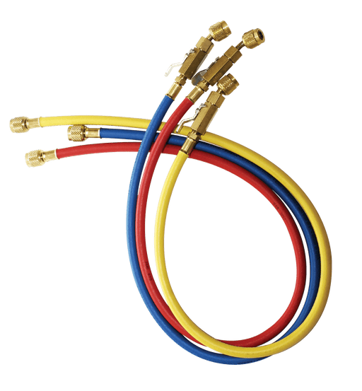 "JB Industries CCLBV-72 Kobra® 72"" Charging Hose (RYB) 3-Pack, with Ball Valves - Edmondson Supply"
