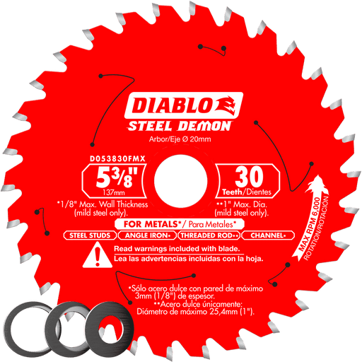 Diablo Tools D053830FMX 5‑3/8 in. x 30 Tooth Metal Cutting Saw Blade