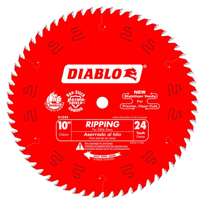Diablo Tools D1024X 10 in. x 24 Tooth Ripping Saw Blade